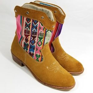 Women's 7 Chakana Roots Tribal Brown Leather Boots